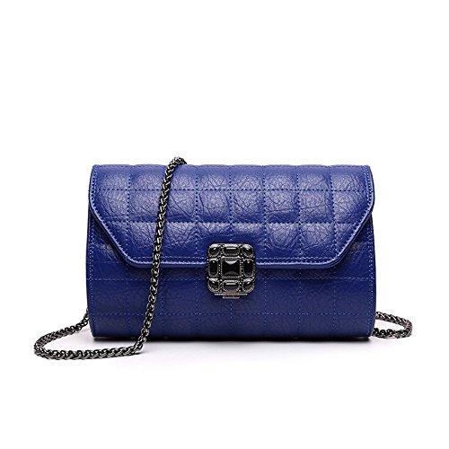 Mefly Tempo libero Lingge catena fibbia Borsa Fashion Borsetta tracolla nero blue