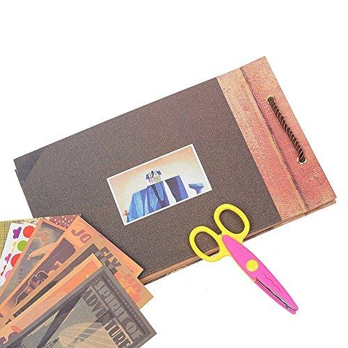 POOTACK Album Fotografico Fai da Te, Our Adventure Book Scrapbook DIY(19x30cm, 80 Pagine) con Penne Colorate, Forbici, Fascia Decorativa in Pizzo, Adesivi - Regalo di Compleanno/Laurea/Nozze - 5