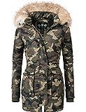 Navahoo Damen Winter-Jacke Winter-Mantel Schneeengel (vegan hergestellt) Camouflage Gr. XL