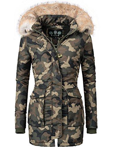 Navahoo Damen Winter-Jacke Winter-Mantel Schneeengel (vegan hergestellt) Camouflage Gr. S