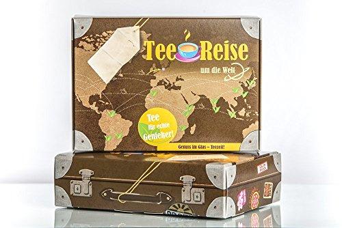 Teereise um die Welt (fünf verschiedene Sorten) als Geschenkset mit einem Tee-Ei aus Edelstahl