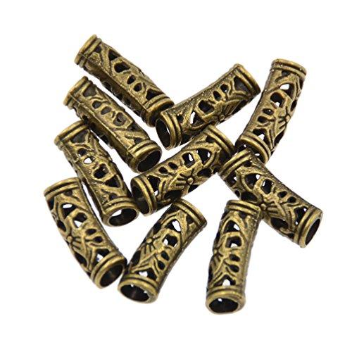 YNuth 10 Stück Metall Dreadlocks Perlen Blumen Aushöhlen Silber Bronze Golden Haar