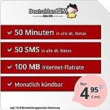 DeutschlandSIM SMART 50 - monatlich kündbar (100MB Internet-Flat, 50 Frei-Minuten, 50 Frei-SMS, EU-Ausland inklusive, 4,95 Euro/Monat) Vodafone-Netz