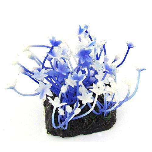 Kunststoff Aquarium Floral Wasserpflanze Ornament, Blue / White -