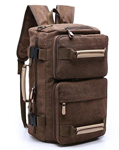 &ZHOU Borsa di tela, Uomini e donne grande capacità multi-purpose borsa tracolla borsa Messenger Borsa zaino zainetto borsa di tela , khaki coffee color