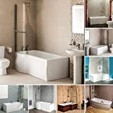 Shower Acrylic White Bath Tub with Shower Screen