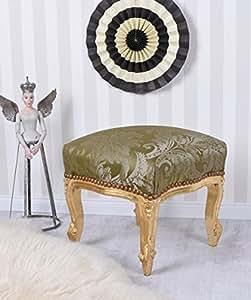Polsterhocker Antik Hocker Barock Gold Polsterbank Sitzbank Sitzhocker Vintage