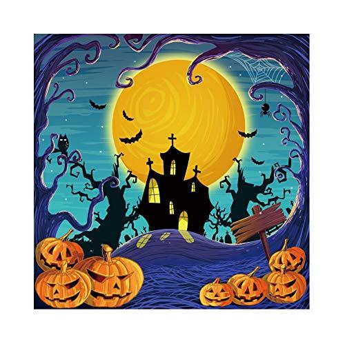 OERJU 2,5x2,5m Halloween Hintergrund Cartoon Kürbis Verrücktes Schloss Vollmond Fledermaus Hintergrund Halloween Party Fotografie Süßes oder Saures Kinder Party Banner Dekoration Porträt