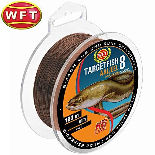 WFT TF8 Aal Brown 0,18mm 160m 14Kg - Angelschnur zum Aalangeln, geflochtene Schnur zum Angeln auf Aale, Geflechtschnur, Aalschnur