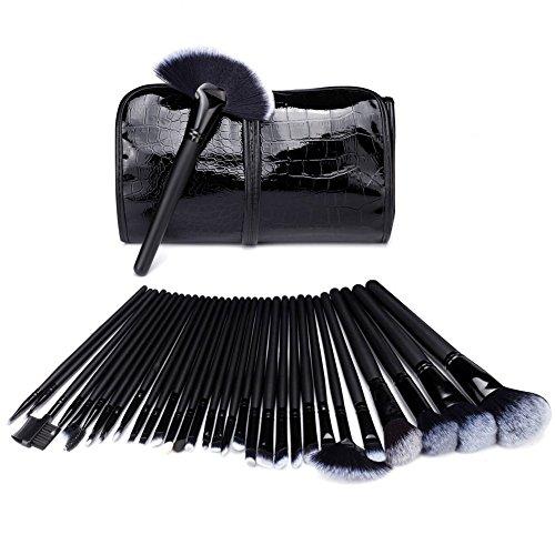 GY® Kit de pinceaux de maquillage 32 pièces de haute qualité Lot de brosse de maquillage synthétique Kabuki Cosmetics Fond de teint Mélange Blush Eyeliner Correcteur Yeux Visage Poudre Brosse de Maquillage.