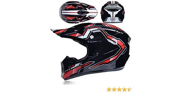 Casque de Moto Cross Country Certification D 52~53cm O T Endurance VTT VTT Casque de s/écurit/é avec Lunettes//Gants//Masque,E,S