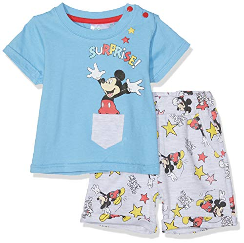 Disney Mickey Baby-Jungen 6015 Bekleidungsset, Blau, 86 - French Terry Short Set