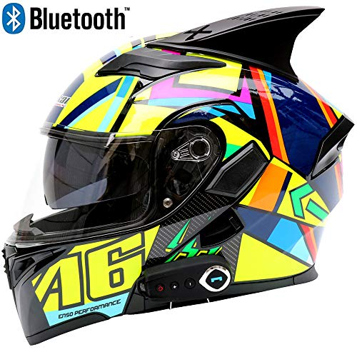 JohnnyLuLu Caschi modulari Flip-Up per Moto Bluetooth, Casco da Moto Smart Touring Crash con Specchio a Doppia Visiera, Altoparlante e Microfono integrati per Cuffie,XL=61~62CM