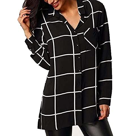 Transer ® Chemisier Femme,Femmes Sexy lâche manches longues en mousseline de soie shirt Chemisier à rayures Chemises Tops Noir(S-XL)