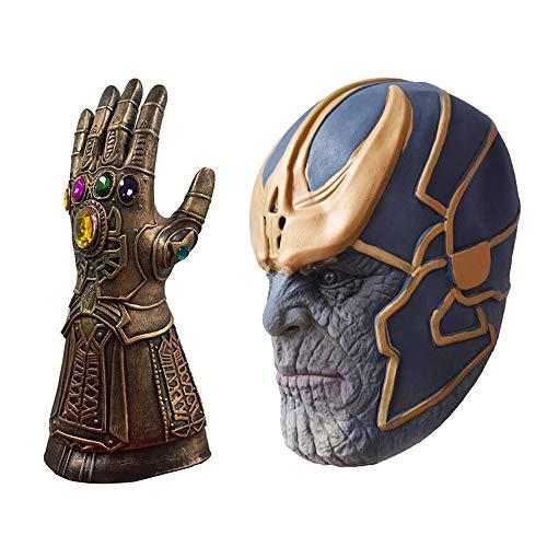 TRUBUY Máscara de Avengers Infinity War Cosplay con Guante de Guantelete Infinito Halloween Disfraces Accesorios de Fiesta