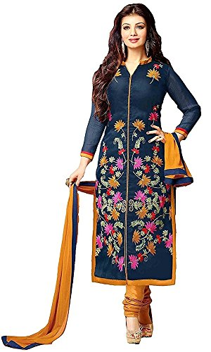 Dresses for women party wear Designer new top Dress Material Today offer buy in Low Price Sale Navy Blue Color Cotton Fabric Free Size Salwar Suit