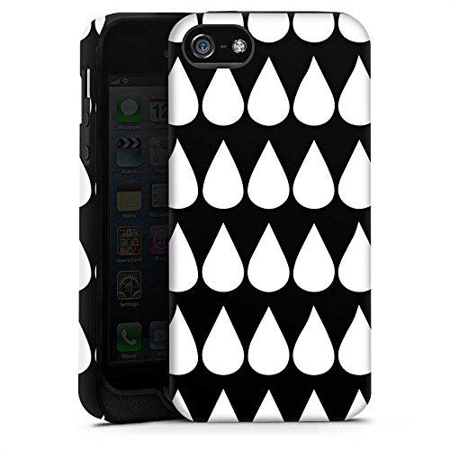 Apple iPhone X Silikon Hülle Case Schutzhülle Schwarz Weiß Tropfen Muster Tough Case matt