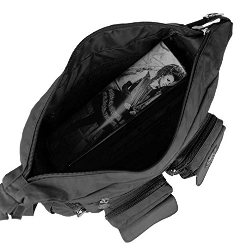 OBC Ital-design Unisex Erw. & Kinder Tasche Schultertasche Freizeit Shopper Umhängetasche (Rosa) Schwarz