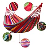 lqabw Camping hamaca portátil ligero del paracaídas de 100% lona de algodón al aire libre hamaca mejor para Camping jardín viaje mochila playa, rosso
