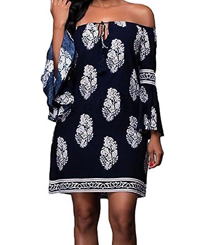 Bling-Bling Navy Blue Floral Print Off-shoulder Bell Sleeves Shift Dress(Size,M)