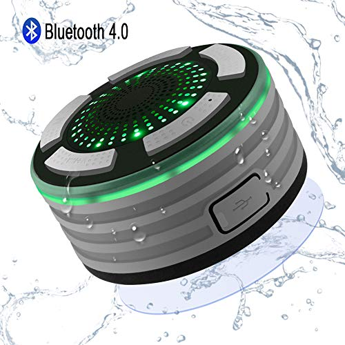 Enceinte Bluetooth Étanche, Alitoo Haut-Parleur de Douche sans Fil Imperméable IPX7 Speaker avec FM Radio,Super Basse et Son HD,Mains Libres,Parfait pour Plage,Piscine,Voiture,Cuisine et Maison(Grey)