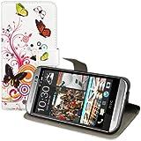 kwmobile Hülle für HTC One M8 / Dual - Wallet Case Handy Schutzhülle Kunstleder - Handycover Klapphülle mit Kartenfach und Ständer Schmetterlinge Hippie Design Mehrfarbig Pink Weiß