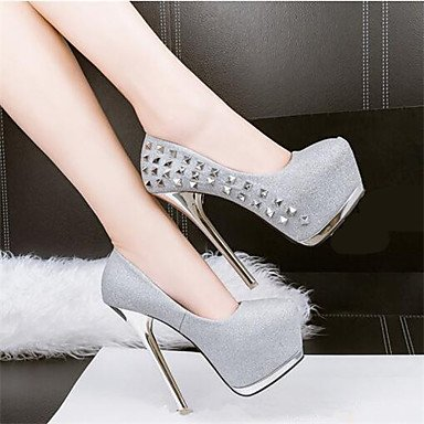Moda Donna Sandali Sexy donna tacchi Estate / Autunno piattaforma abito sintetico Stiletto Heel Rivetto nero / rosa / argento / Oro Altri Silver