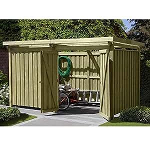 Gerätehaus Holz mit Flachdach Typ-3 Gartenhaus Maße 387 x 224 cm von Gartenpirat®