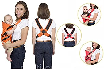 LUKZER Comfortable Soft Adjustable 2 In 1 Baby Carrier With Head Support And Buckle Straps For Babies (3-9 Months) - Multi Color