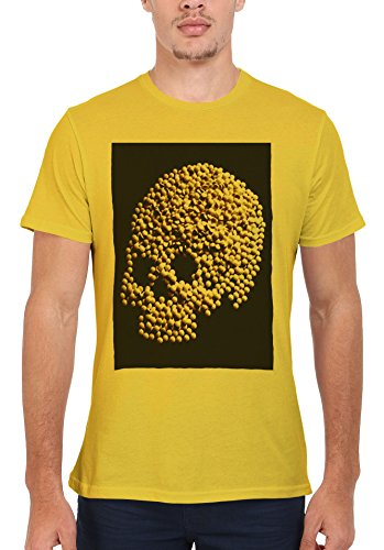Skull Pill Head Medicines Men Women Damen Herren Unisex Top T Shirt Licht Gelb