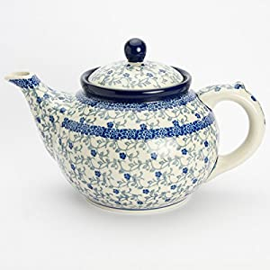 Polish Pottery Large Teapot – Forget-me-not – 6 Cup