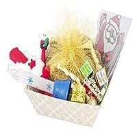 Christmas White Basket Plum Cake Hamper with Santa Glass Stickers, Decoaration Set, Glitter Candle,Santa Pen and Reindeer Hand band