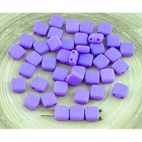 40pcs Viola in Seta Opaca Piastrelle ceca Perle di Vetro a Due Fori Piatto Quadrato 6mm x 6mm