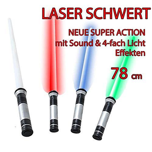 78 cm Laserschwert Lichtschwert Sound 4-fach Lichteffekte blau grün rot Dauerlicht