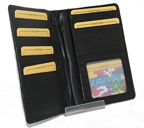 Herren Schwarz Leder Brieftasche (J9030 Große Herren Leder Brieftasche Ausweismappe verschiedene Farben -- präsentiert von RabamtaGO® -- (schwarz))