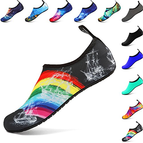 welltree Hombres Mujeres Zapatos de Agua Secado rápido Zapatillas Deportivas Aqua,para Bailar, Nadar, Caminar, Yoga, Lago, Playa, Jardín, Parque, Conducir, Botes Rainbow 36/37