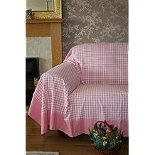 Homescapes Couvre lit - Couverture, 1 ou 2 personnes (200 x 150cm). Pur coton ULTRA DOUX. Couleur ROSE BLANC