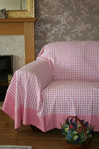 Homescapes - Gingham Check Throw / Bedspread - 150x200 cm ( 59 x 79 Inches ) - Pink and White - Handmade 100% Cotton - Suitable for most 1 Seater Sofas and Single Beds - Easy care washable at home