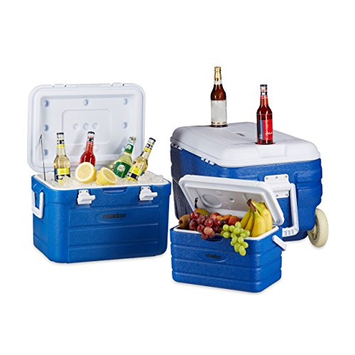 Relaxdays Rolling Cooler en Set, 3 Cool caja Trollies, Cool bolsillo...