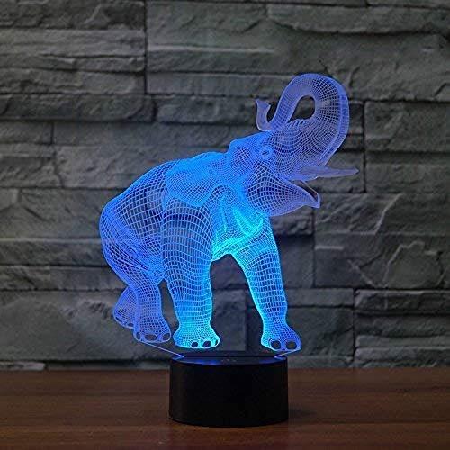 BEANDENG Elefant Nachtlicht für Kinder 3D Illusion Nachtlicht, Touch Button 3D optische Täuschung Tisch Schreibtischlampe mit 7 Farben Licht für Mädchen Weihnachten Halloween Geburtstagsgeschenk