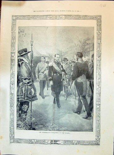 Königlicher Prozessions-Kapellen-Braut-Hochzeits-Antiken-Druck des Bräutigam-1896