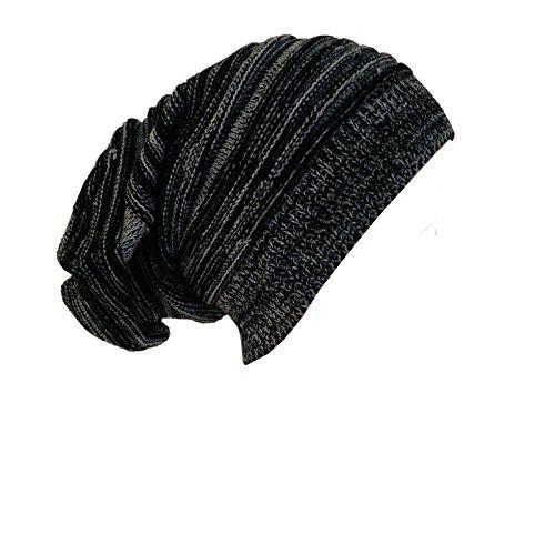 2-Tech - Cappello lavorato a maglia unisex trendy hipster oversize, colore: Nero, grigio