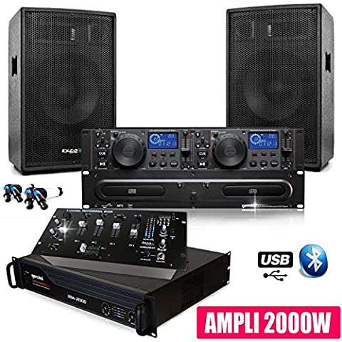 Pack SONO DJ Complet 2000W CLUB12 Ampli Gemini Table Mix 90USB Bluetooth + CABLES
