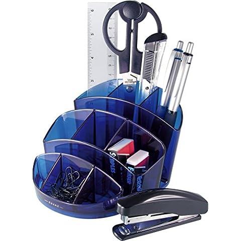 EXERZ EX356 O-Life Organizador de Escritorio Oval - Tamaño medio -Multicolor equipado con tijeras, grapadora, grapas, lapices, regla, goma de borrar, clips (Azul)