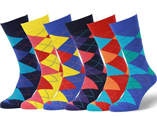 Easton Marlowe 6 PR Calcetines Estampados Hombre - 6pk #9, argyle - bright colors, 43-46 EU shoe size