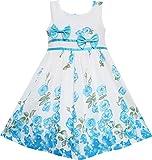 Mädchen Kleid Blau Blume Doppelklicken Bogen Binden