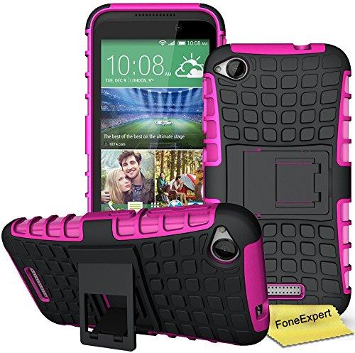 HTC Desire 320 Handy Tasche, FoneExpert® Hülle Abdeckung Cover schutzhülle Tough Strong Rugged Shock Proof Heavy Duty Case für HTC Desire 320 + Displayschutzfolie (Rosa)