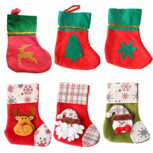 Vidillo Weihnachtsstrümpfe, 6 Stück, hübsche Weihnachtsstrümpfe, Süßigkeitentasche, Weihnachtsmann, Rentier, Schneemann, Weihnachten, Party, Dekoration, Tasche, mit Schlaufen zum Aufhängen B