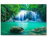 Paul Sinus Art Leinwandbilder | Bilder Leinwand 120x80cm exotischer Wasserfall in Erawan – Thailand