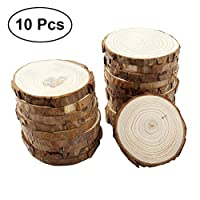 OUNONA 10pcs Wood Slices Round Wooden Discs DIY Craft Embellishment Wedding Centerpieces 9-10cm